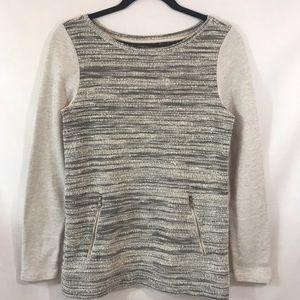LOFT Marled Black/Gray Pullover